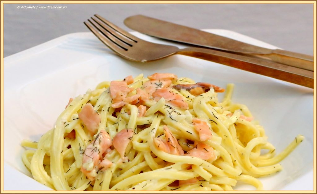 spaghetti gerookte zalm room
